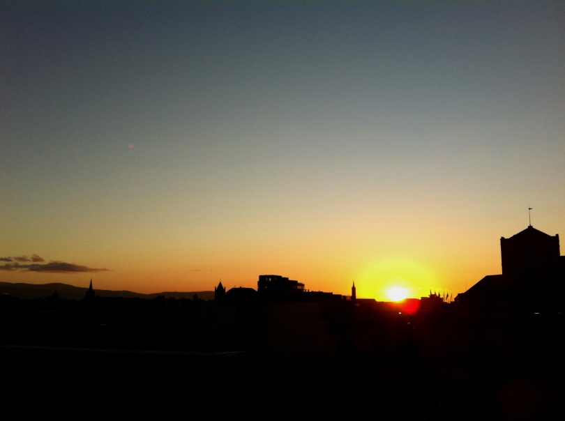Sunset over Dublin city, Saturday evening