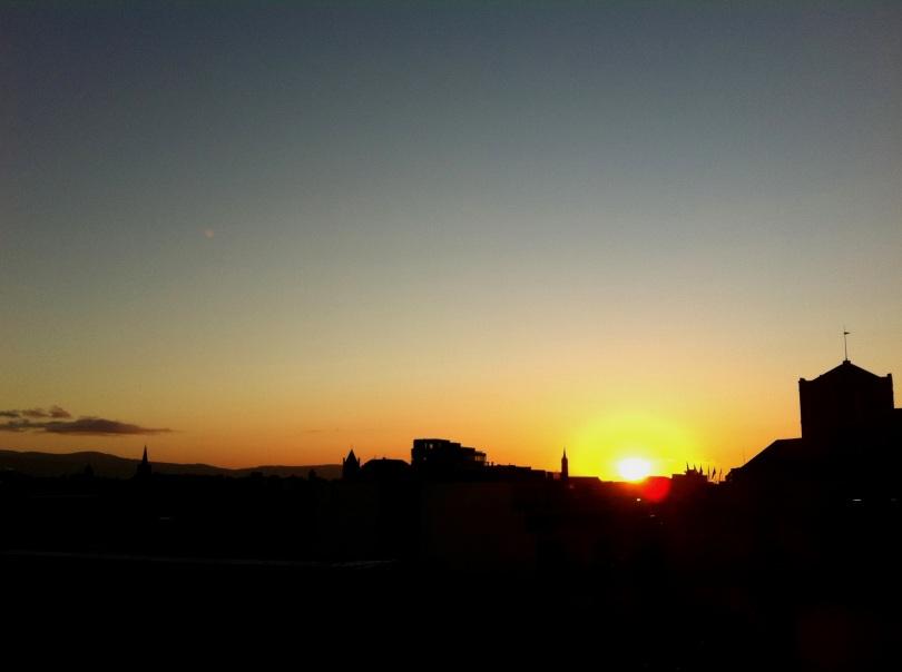 Sunset over Dublin city, Saturday evening