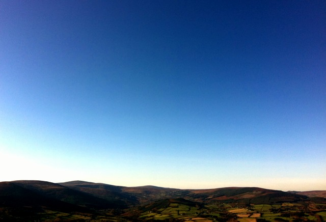 Looking west over Wicklow from Sugarloaf mountain