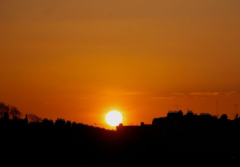 Sunrise over the chimney tops of Monkstown from yesterday evening